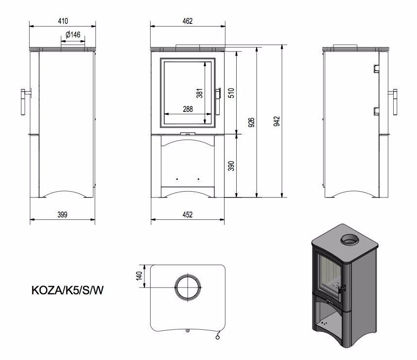 Печь-камин KOZA К5/S/W