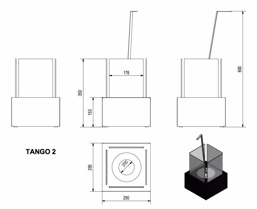 Биокамин TANGO-2 черный TUV Certificate